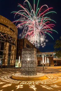 Fireworks seen over the University of Iowa's Adler Journalism Building on a beautiful Fourth of July evening in Iowa City.