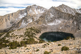 Big Pothole Lake, as seen from near Kearsarge Pass in the high country of Inyo National Forest.