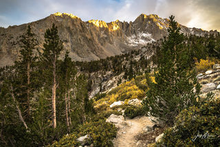 Alpenglow in the Sierra Nevada mountains, as seen from John Muir Wilderness near Independence, California.