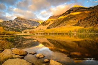 Autumn colors in golden hour glow from North Lake near Bishop, California.