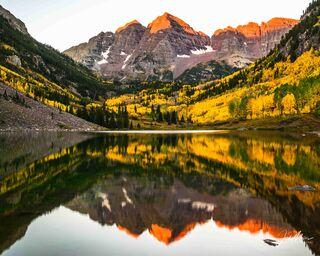 maroon bells, Colorado, alpenglow, autumn