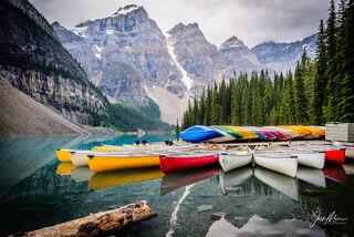 Banff National Park, Valley of the Ten Peaks, Moraine Lake, Canoes, Alberta