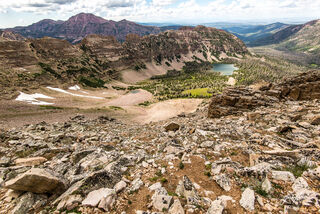 A vantage from the shoulder of Ostler Peak, looking out over Amethyst Basin and the High Uintas Wilderness, Utah.