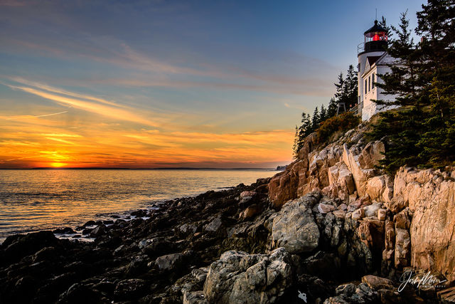 lighthouse, Bass Harbor, Mount Desert Island, Atlantic Coast, Maine, Acadia National Park, sunset