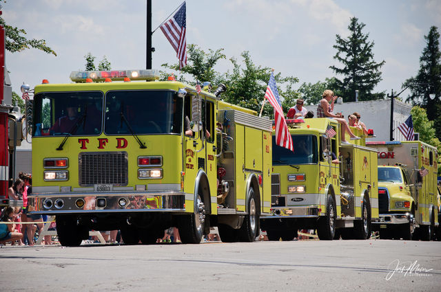 Firetruck, Fourth of July, Iowa, Parade, Patriotic, Tipton,