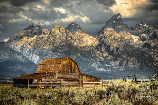 John Moulton Barn from scenic Mormon Row in Grand Teton National Park, Wyoming.
