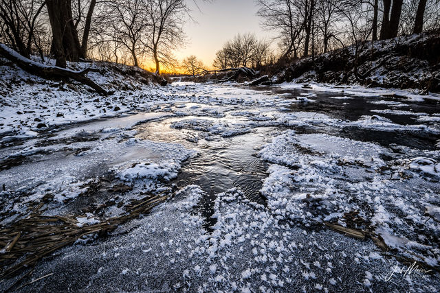 Cedar County, Iowa, Rock Creek, farm, Tipton, frost, frozen, ice, winter,
