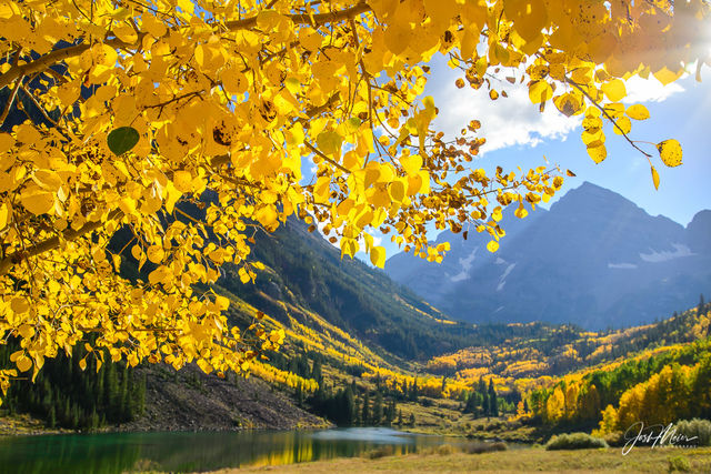 Unique view of the famous Maroon Bells through golden aspen leaves on an autumn afternoon in Colorado.