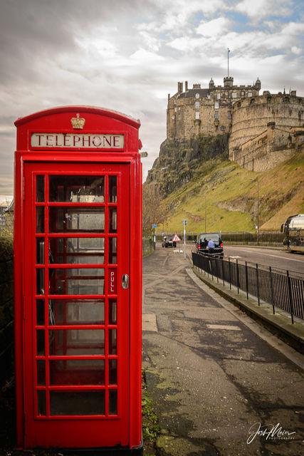 Edinburgh, Castle, Phone Booth, Red, Scotland, British