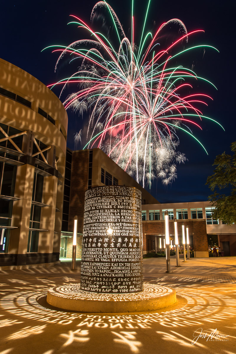 Fireworks seen over the University of Iowa's Adler Journalism Buildingon a beautiful Fourth of July evening in Iowa City...