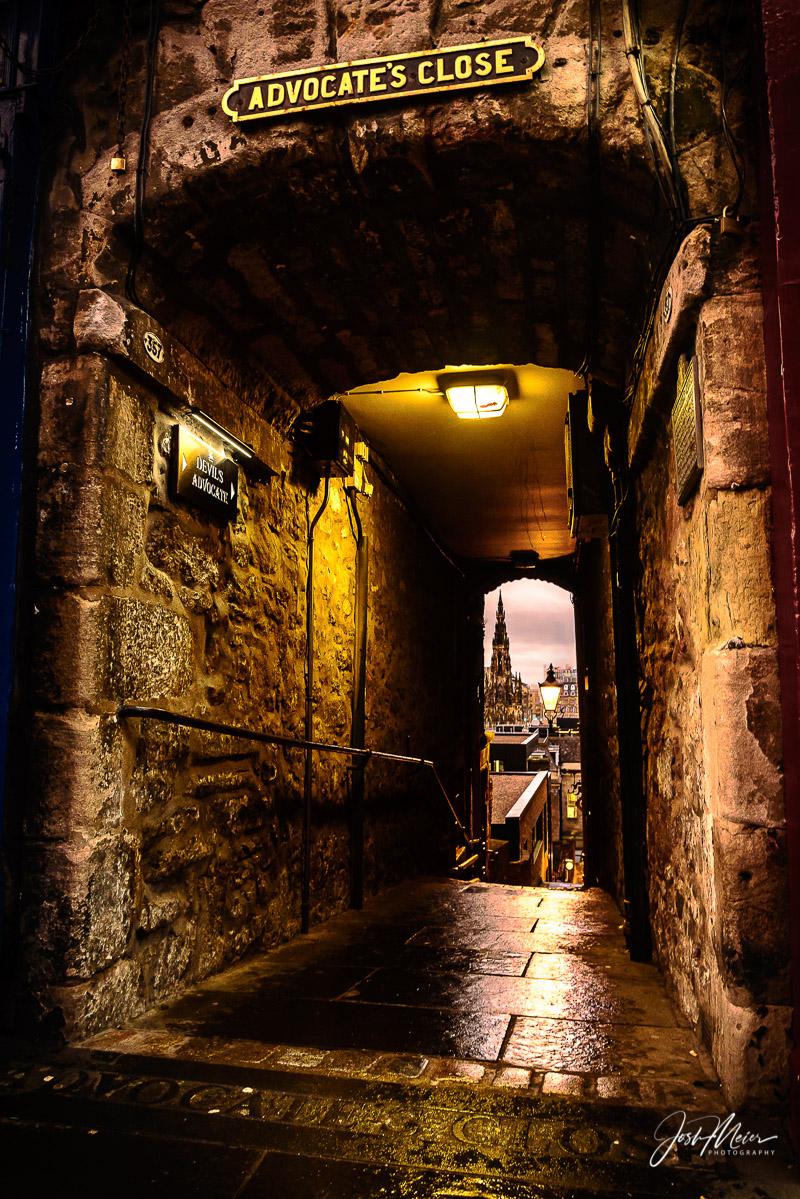 Advocate's Close, looking toward Scott's Monument across Princes Street Gardens, Edinburgh, Scotland.