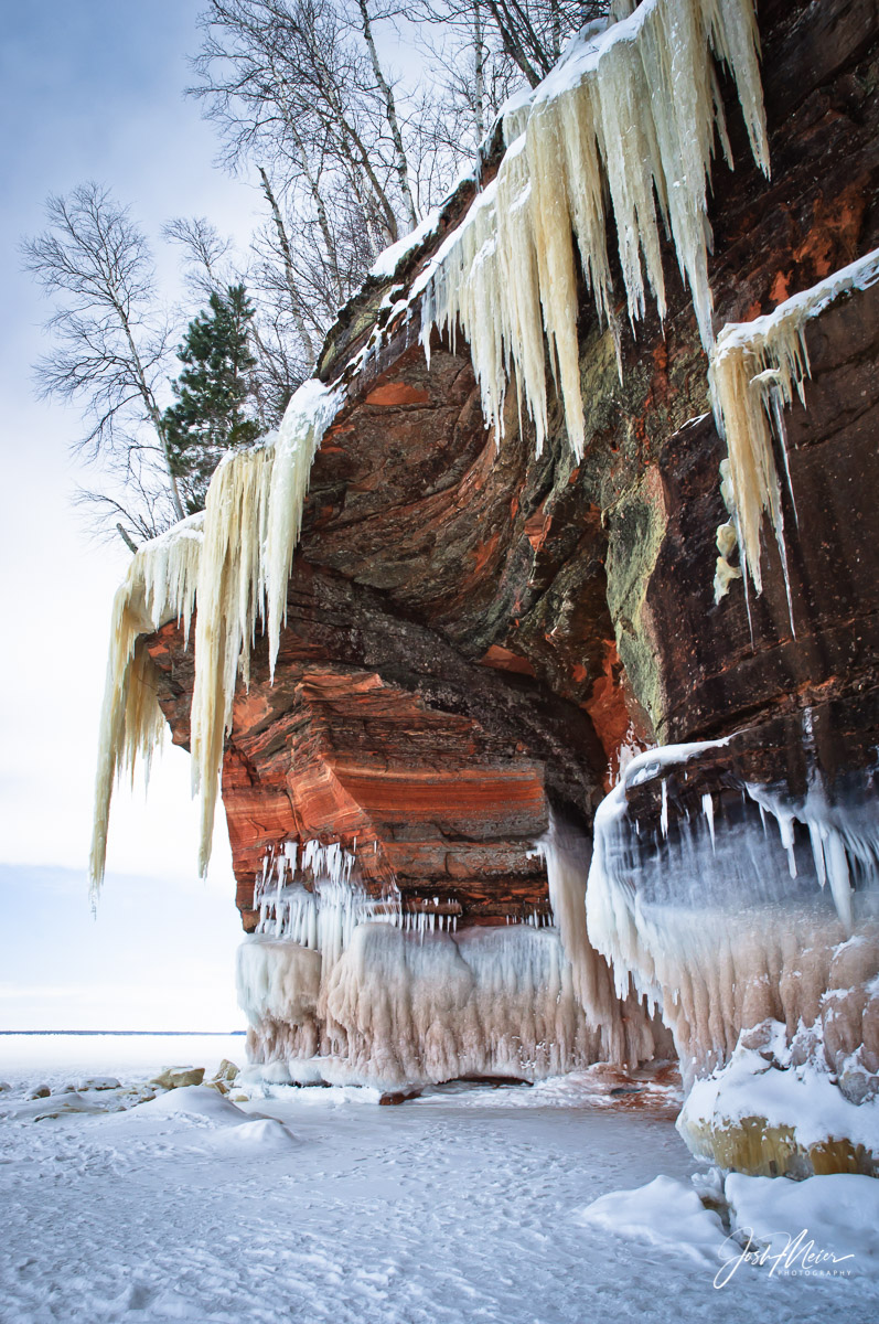 Giant icicles hang over the Mainland Sea Caves at Wisconsin's Apostle Islands National Lakeshore.
