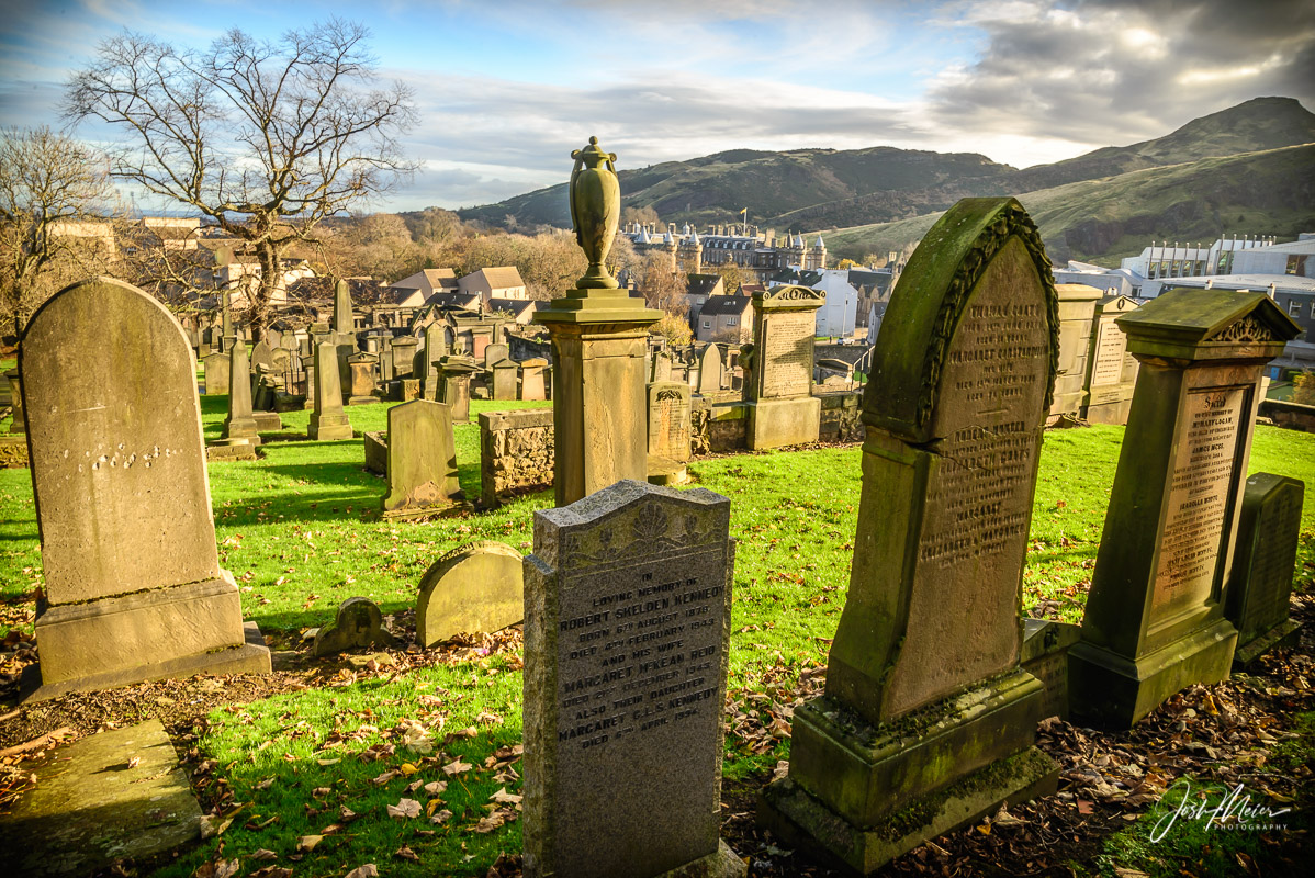 The Old Calton Burial Ground, dating back to the 1700's, overlooking Holyrood Park in Edinburgh.