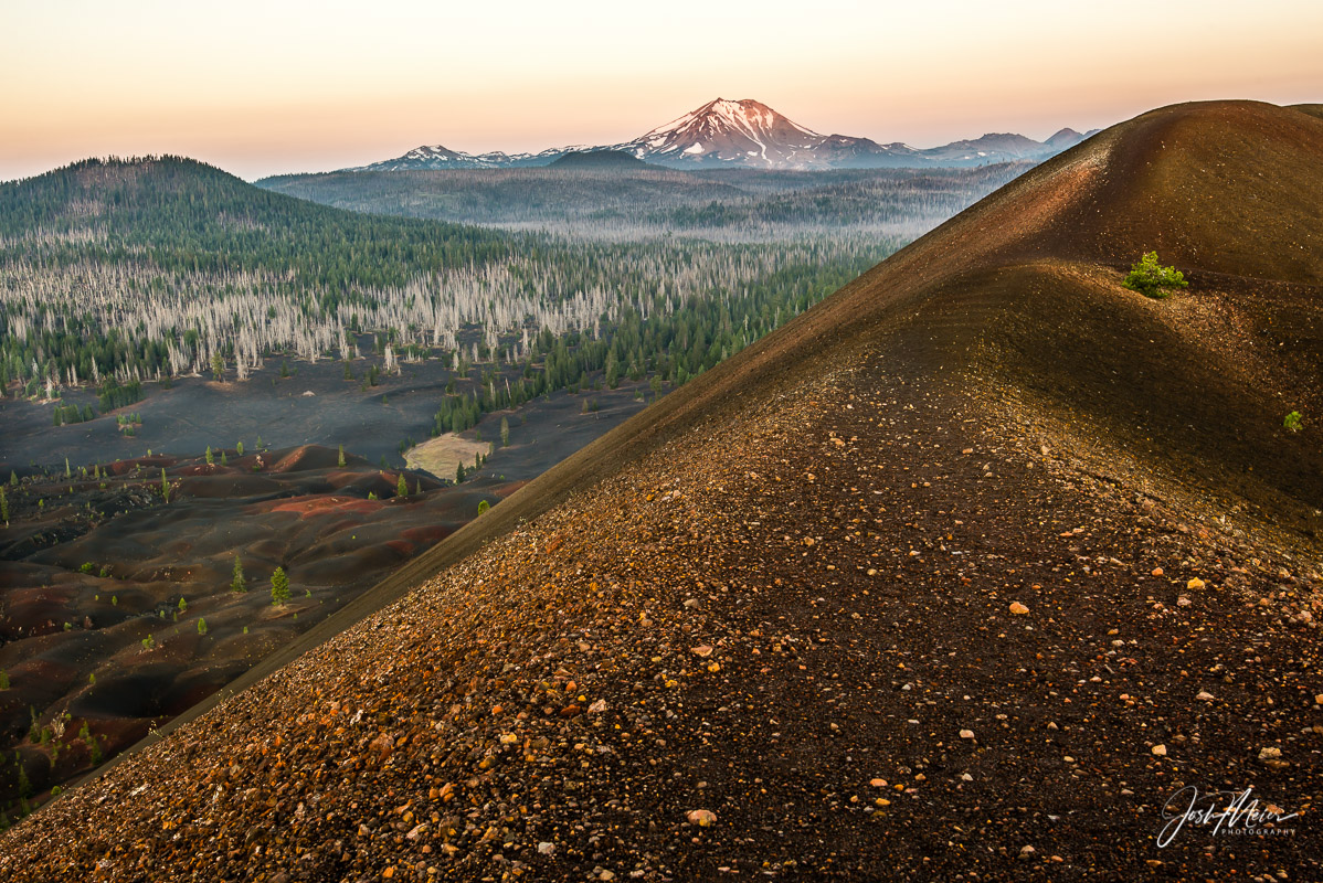 View of Mt. Lassen from atop the Cinder Cone in Lassen Volcanic National Park. I'd climbed the dormant volcano in the pre-dawn...