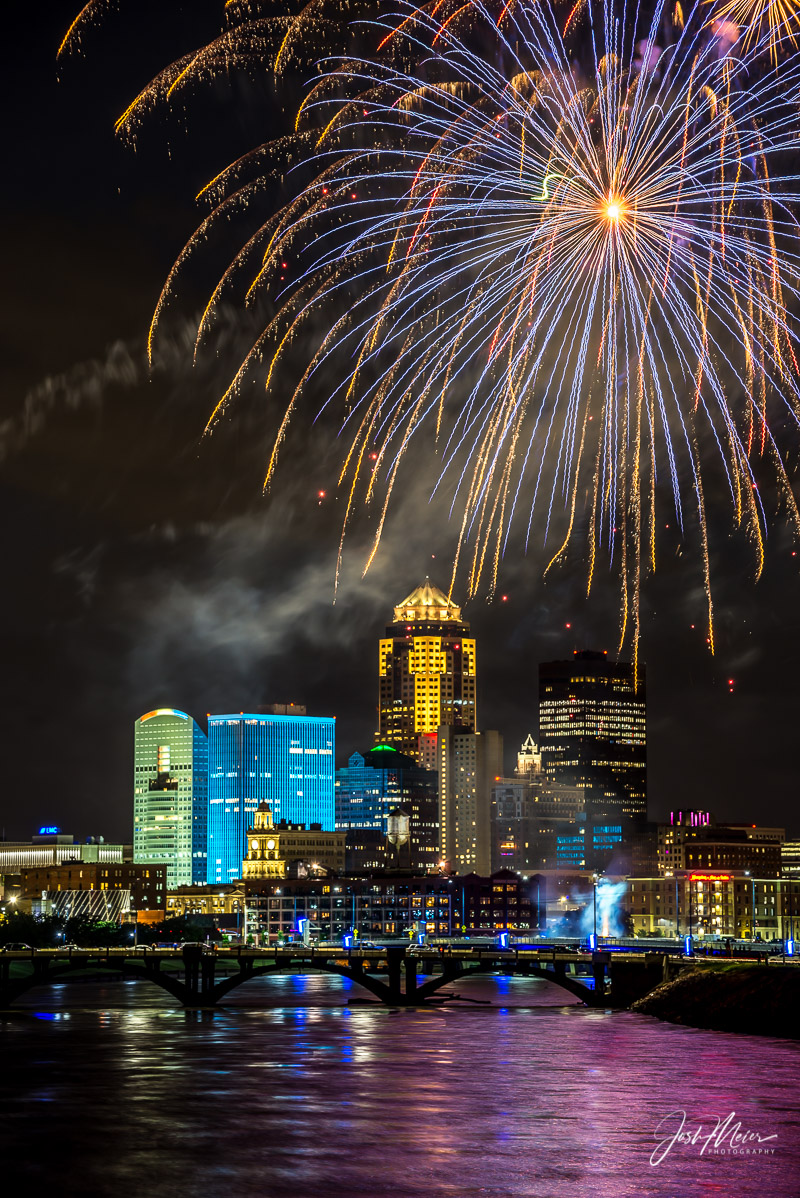 Fireworks light up the sky after an I-Cubs game, a Friday night summer tradition in downtown Des Moines.