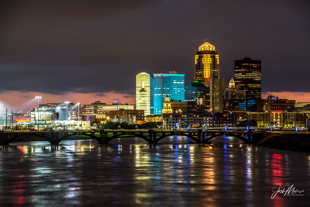 Des Moines, Des Moines River, Downtown,  Iowa, Night,  Prudential Skyline, photo