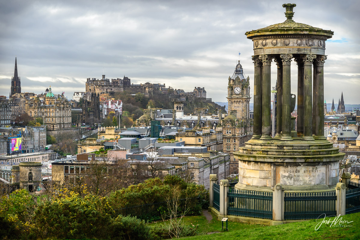 The Dugald Stewart Monument, named after an influential Scotish philosopher, overlooks Edinburgh from Calton Hill in Edinburgh.