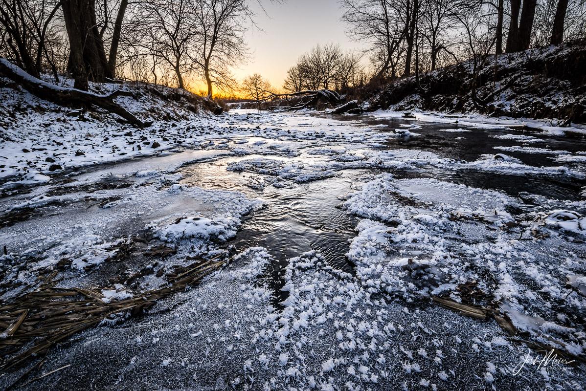 Winter along Rock Creek west of Tipton, Iowa.