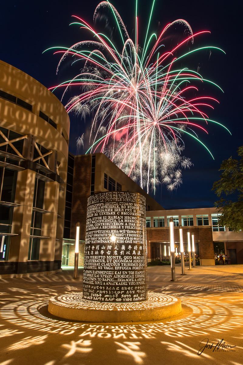 Adler Journalism Building, Fine Art, Fireworks, Fourth of July, Iowa, Iowa City, Photography, University of Iowa, photo