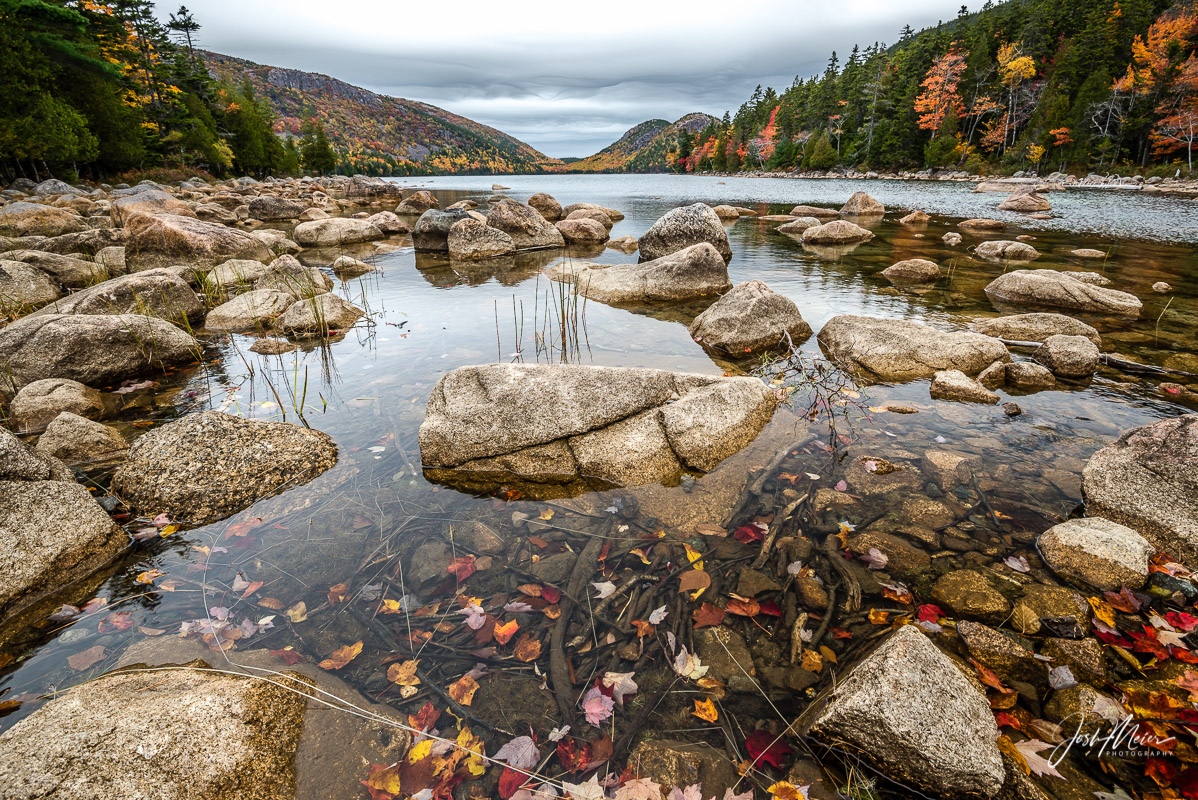 Jordan Pond on an overcast October morning in Acadia National Park, Maine.