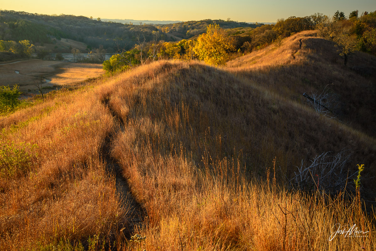Loess Hills, Monona County, trail, sunrise, golden, Iowa, autumn, photo