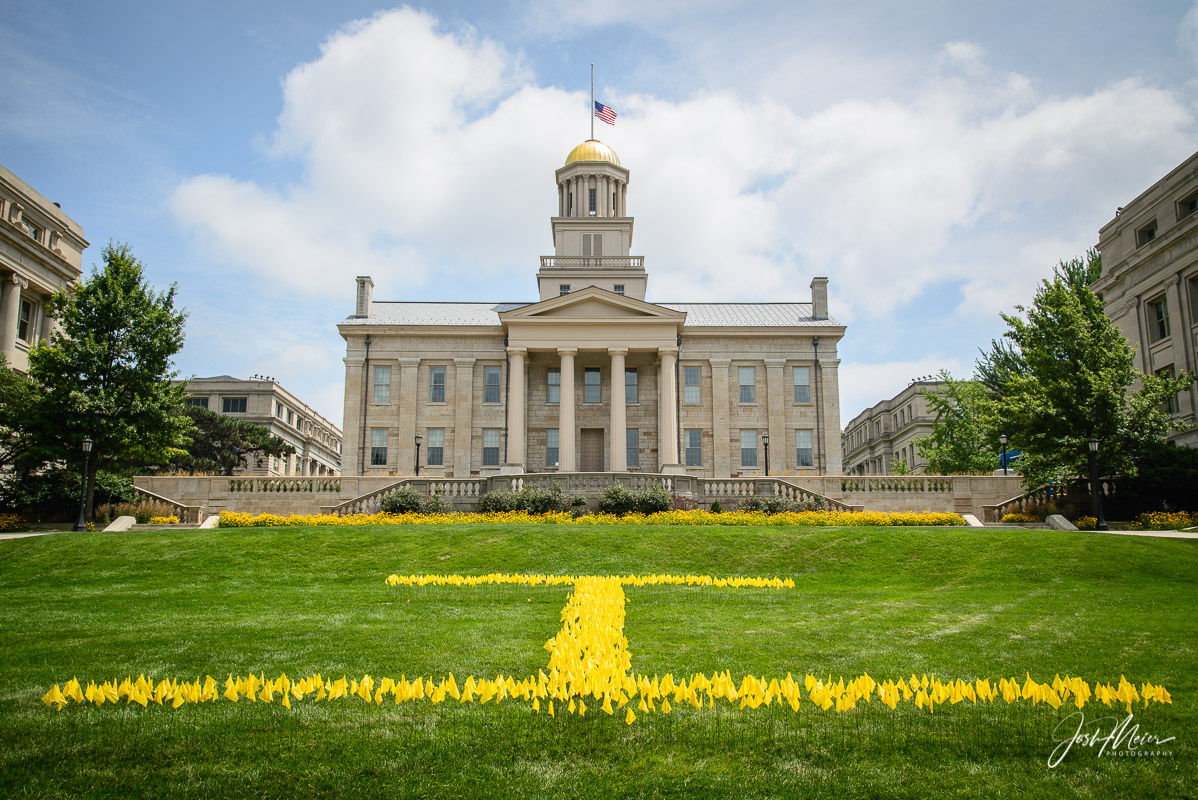 The iconic Old Capitol building at the University of Iowa anchors the heart of campus and Iowa City's Downtown.