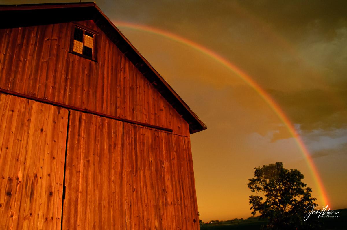 Barn, Cedar County, Iowa, Rainbow, Red, Storm, Tipton, Countryside, photo