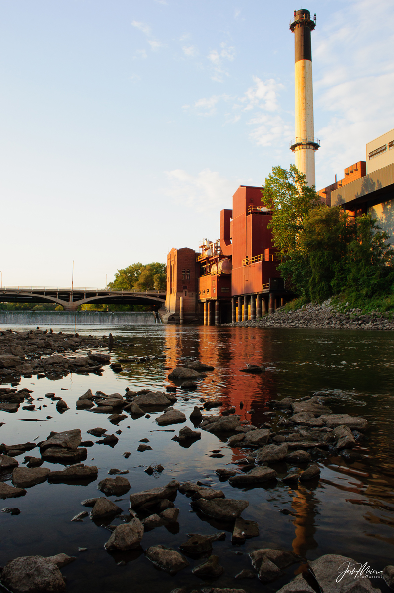 The Iowa River, power plant and Burlington Street Dam near downtown Iowa City.