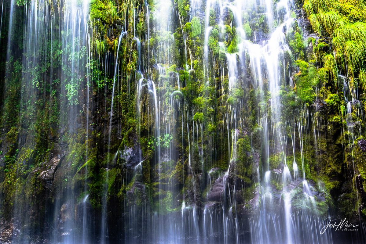An up-close and intimate view of Mossbrae Falls, California.