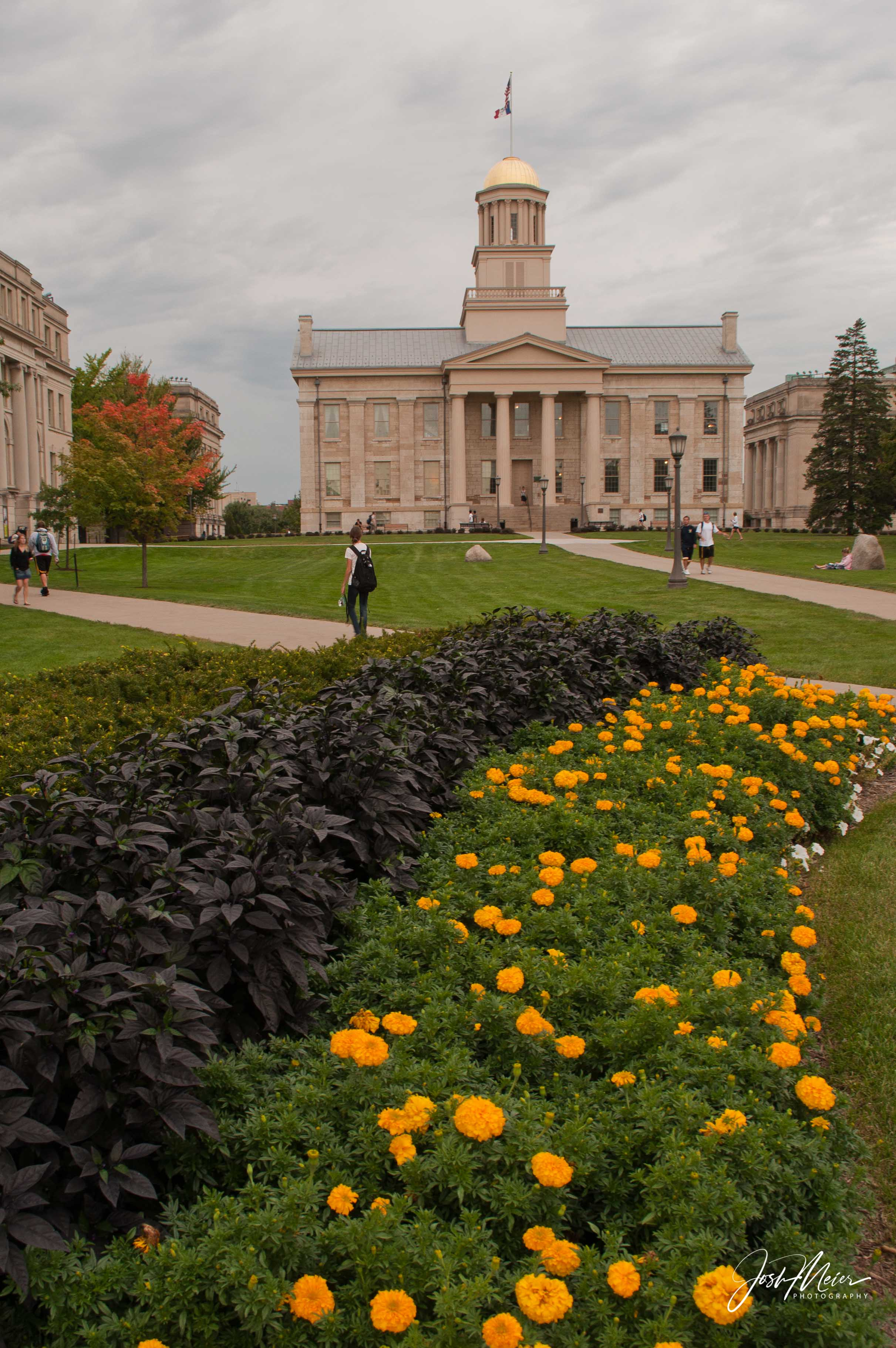 Old Capitol building at the heart of the University of Iowa campus.