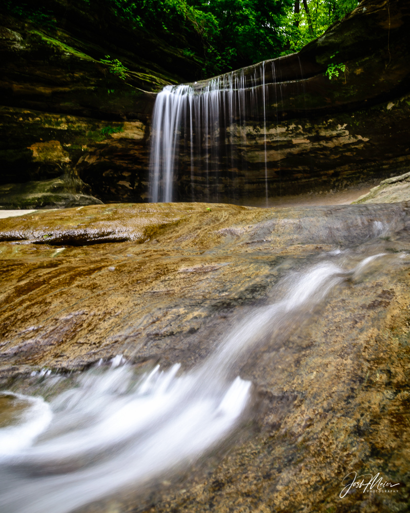 The gorgeous whispey flow of a seasonal waterfall in LaSalle Canyon of Starved Rock State Park, Illinois. Located just over an...
